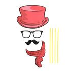 """Carnival set for a photo shoot of """"Dude"""", 4 pieces: hat, glasses, mustache, scarf"""
