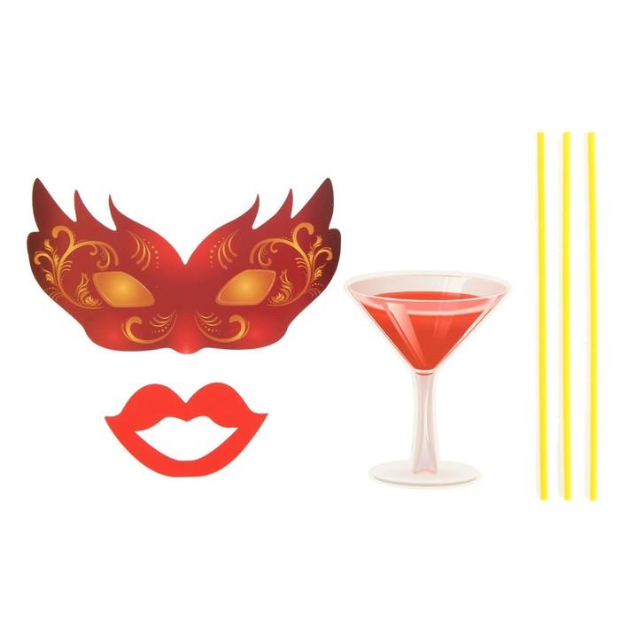 """Карнавальный набор для фотосессии """"Озорница"""", 3 предмета: маска, губы, бокал"""