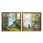 """Модульная картина в раме """"Мишки в лесу"""", 2 — 33×33 см, 33×66 см"""