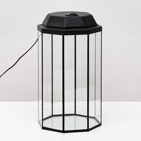Аквариум восьмигранный с крышкой, 24 литра, 25 х 25 х 46/50 см, чёрный