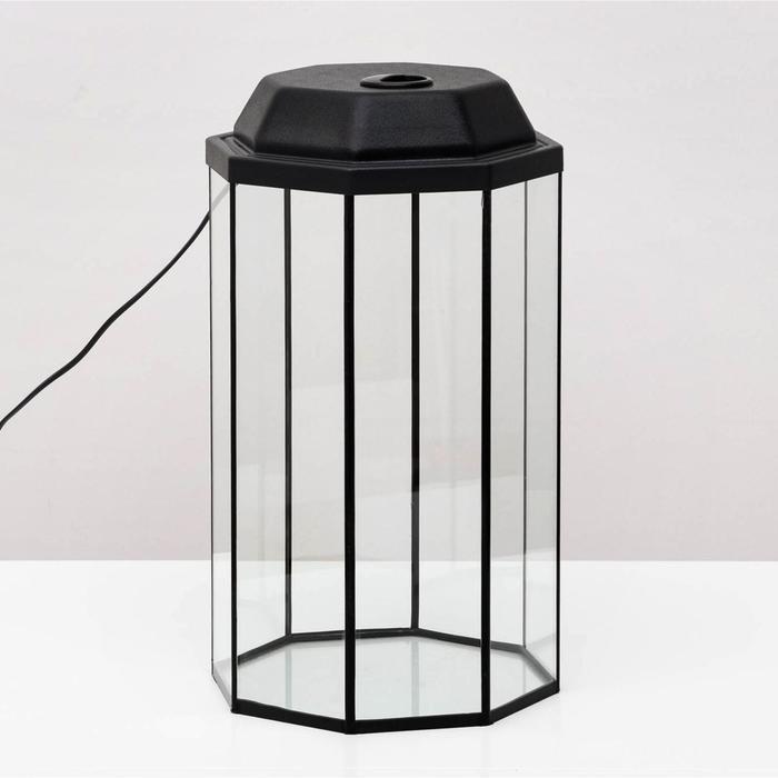 Аквариум с крышкой восьмигранный 24 л  черный