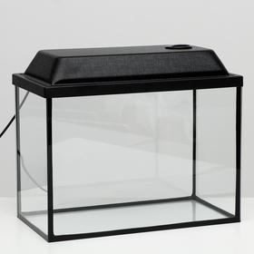 Аквариум прямоугольный Атолл с крышкой, 29 литров, 43 х 22,5 х 30/35,5 см, чёрный