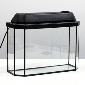 Аквариум панорамный с крышкой, 15 литров, 40 х 14,5 х 27/32,5 см, чёрный