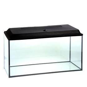 Аквариум прямоугольный с крышкой, 200 литров, 100 х 40 х 50/57 см, чёрный