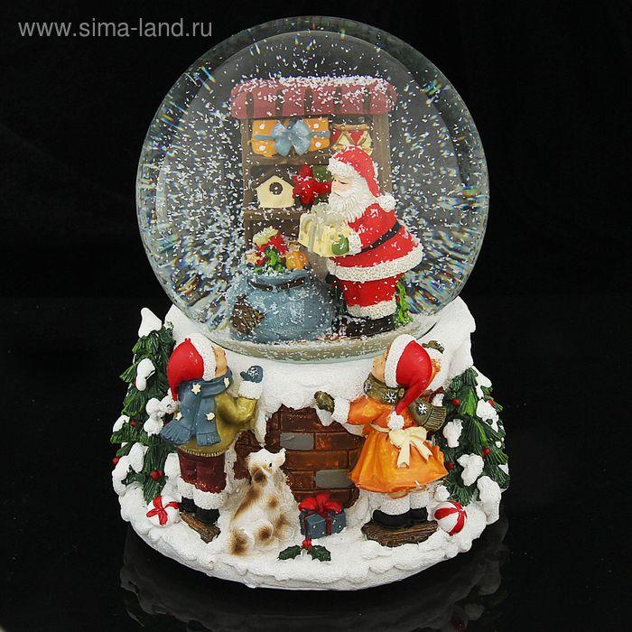 """Сувенир снежный шар """"Подготовка к празднику"""" музыкальный, механический"""