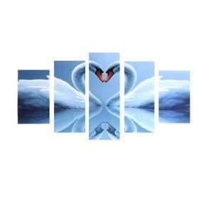 """Модульная картина на подрамнике """"Пара лебедей"""", 2 — 43×25, 2 — 58×25, 1 — 72×25 см, 75×135 см"""