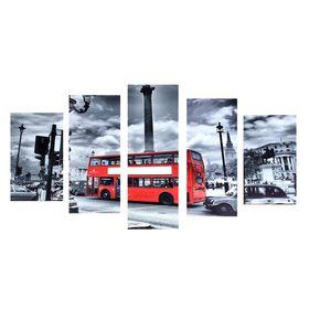 """Модульная картина на подрамнике """"Красный автобус"""", 2 — 43×25, 2 — 58×25, 1 — 72×25 см, 72×125 см"""