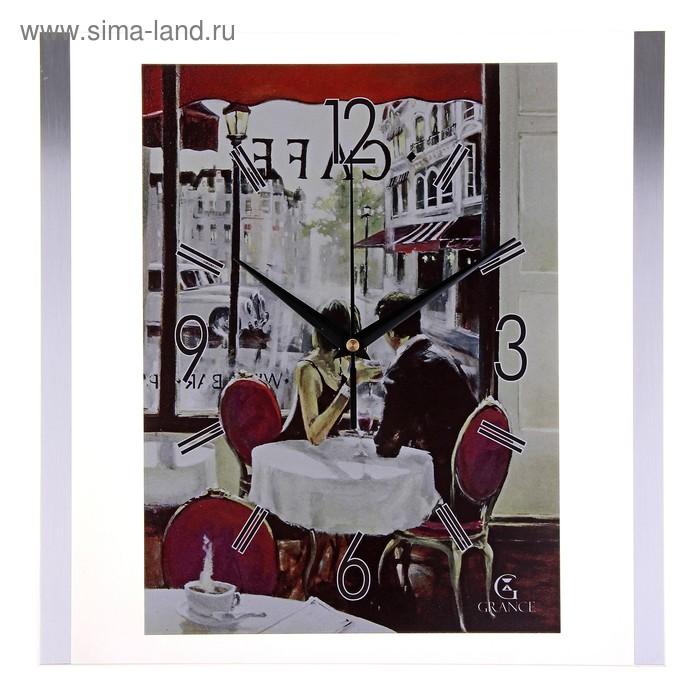 """Часы настенные интерьерные стеклянные """"Grance"""" влюбленная пара в кафе"""