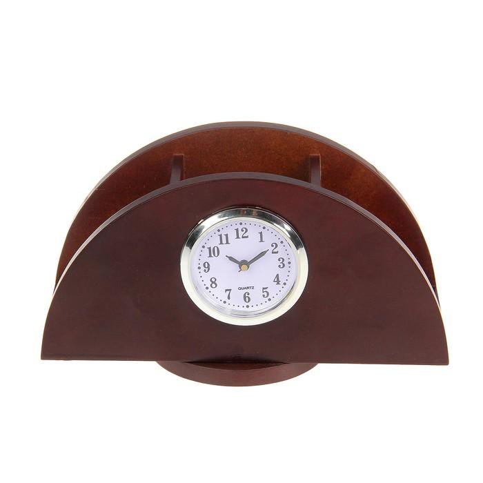 Набор настольный «Красное дерево»: часы, фоторамка, подставки для ручек