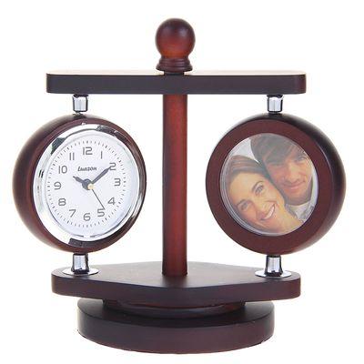"""Часы настольные """"Керуаль"""", с термометром, две фоторамки, цвет сосна, 13.5х10 см"""