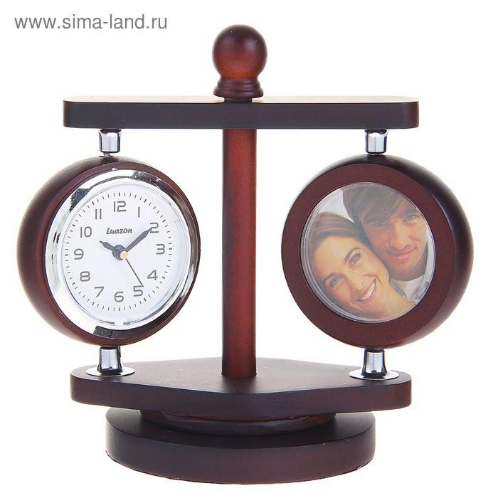 Часы настольные серии Дерево, часы ,термометр,2 фоторамки(d=4см) вращ. 10*13,5см сосна мдф