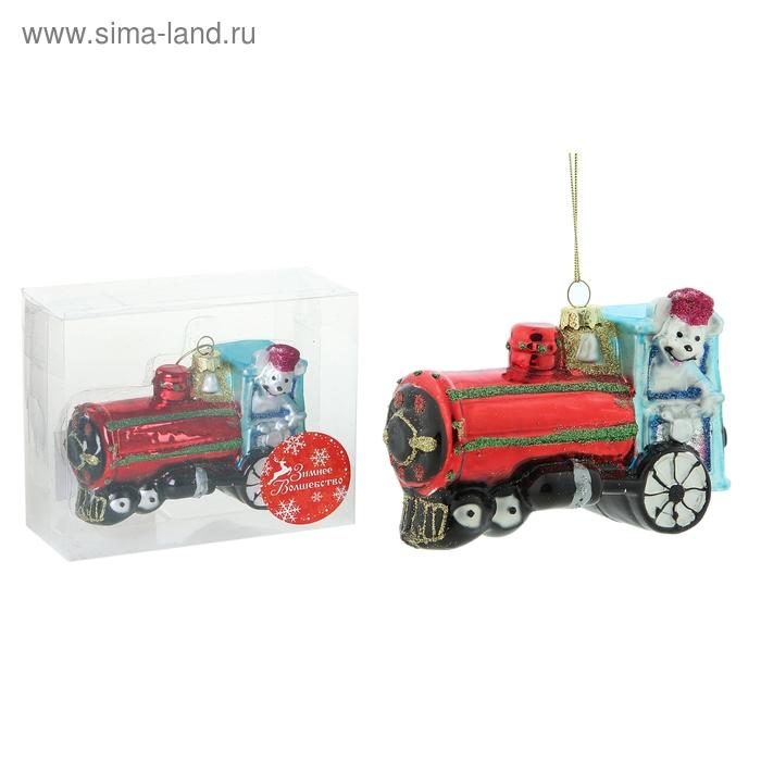 """Ёлочная игрушка """"Мышка в паровозике"""""""