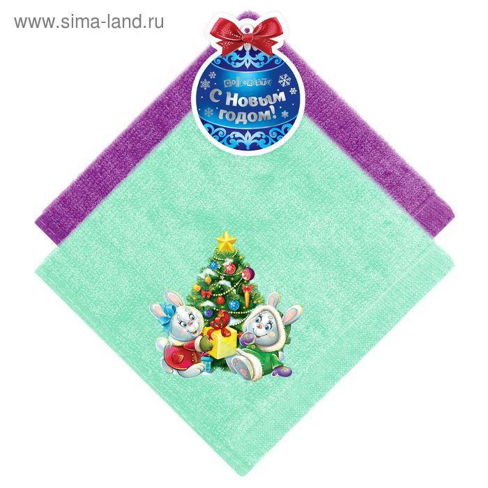 "Набор полотенец ""Collorista"" Новогодний подарок, 30 х 30 см - 2 шт, 100% хлопок, 350 гр/м2 109990"