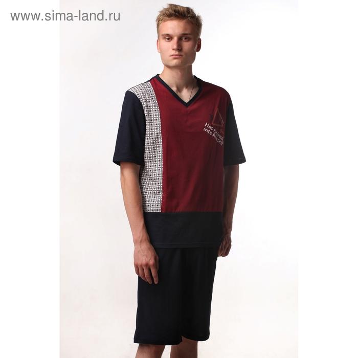 Пижама мужская (футболка, шорты) М-557-09 бордо, р-р 52