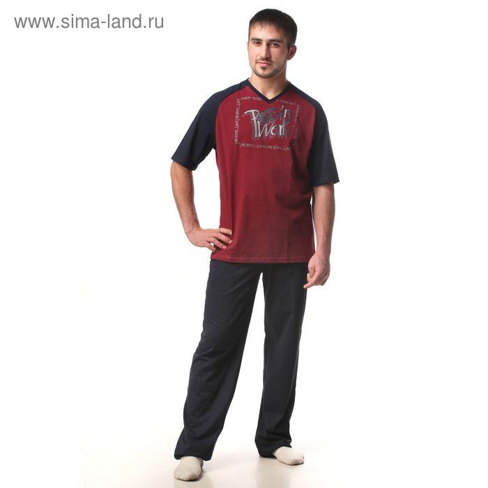 Пижама мужская (футболка, брюки) М-567-09 бордо, р-р 52