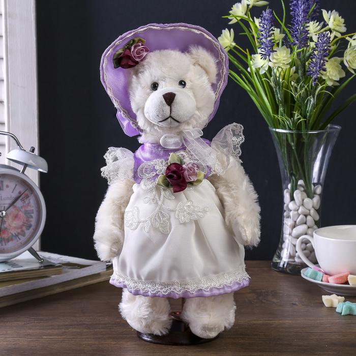 """Декор """"Мишка в сиреневом платьице и шляпке"""""""