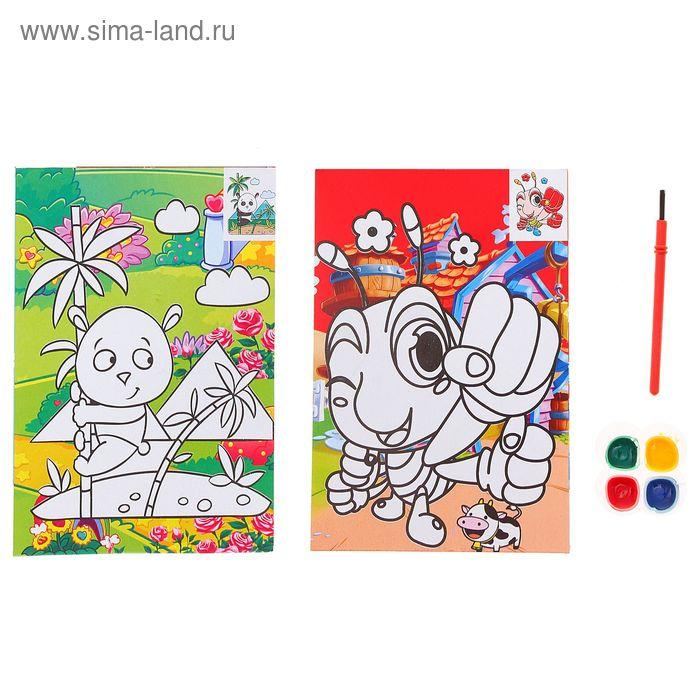 "Раскраска в дорогу ""Панда, жучок"", двухстороняя, краски 4 цвета по 2 гр + кисточка"