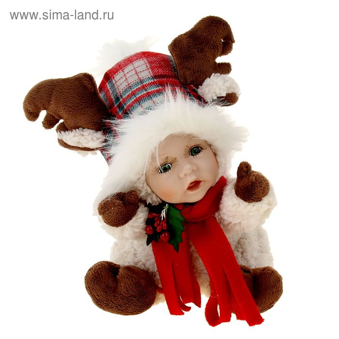 """Кукла коллекционная """"Малыш в костюме лосика с колпаком"""""""