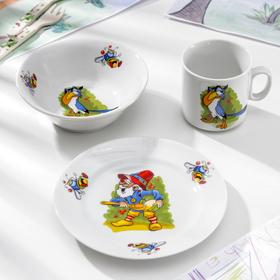 Набор детский Добрушский фарфоровый завод «Лесовичок», 3 предмета: салатник 360 мл, тарелка 17 см, кружка 200 мл
