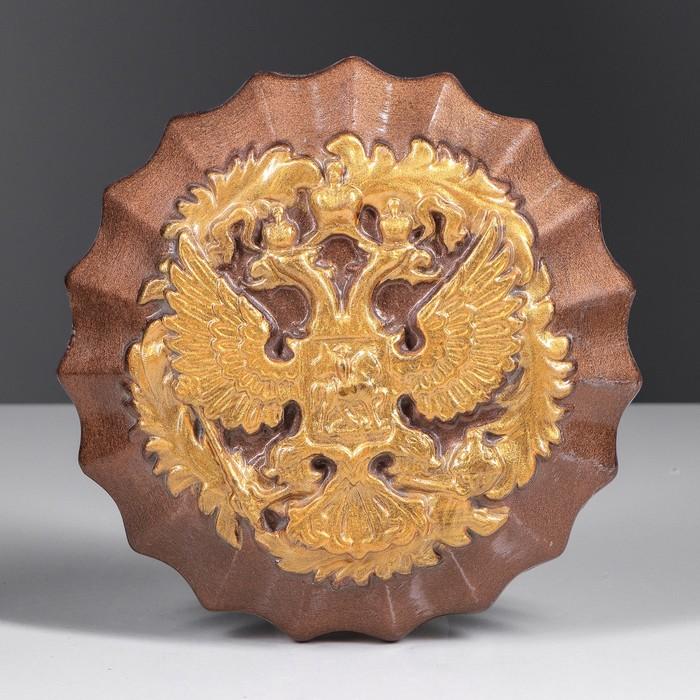 Герб круглый коричневый, золото