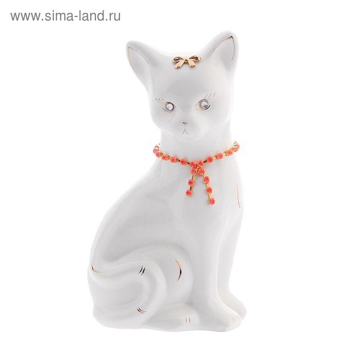 "Копилка ""Кошка Лиза"" малая, глянец, белая, цепочка"