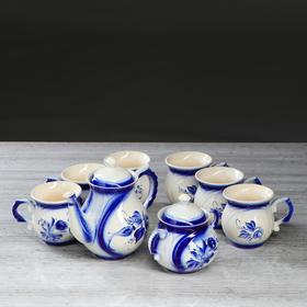 """Чайный набор """"Арго"""", роспись, 8 предметов: чайник 1 л, сахарница 0.4 л, чашки 0.3 л"""