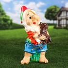 """Садовая фигура """"Гном с собакой"""", разноцветный, 46 см, микс"""