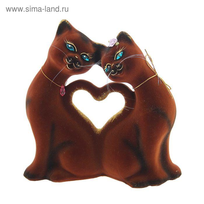 """Копилка """"Кошки"""" в форме сердца, большая, флок, коричневая"""