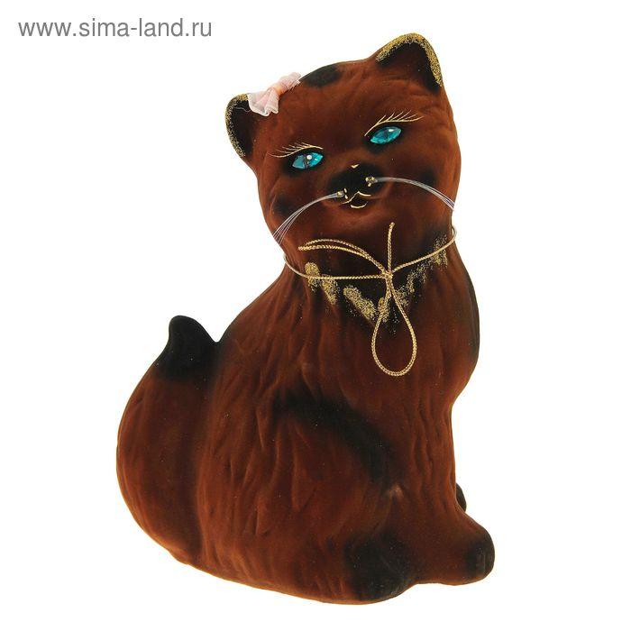 "Копилка ""Кошка Сима"" флок, коричневая"