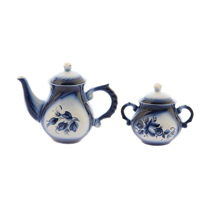 """Чайная пара """"Арго"""" гжель 1 л/ 0,4 л"""