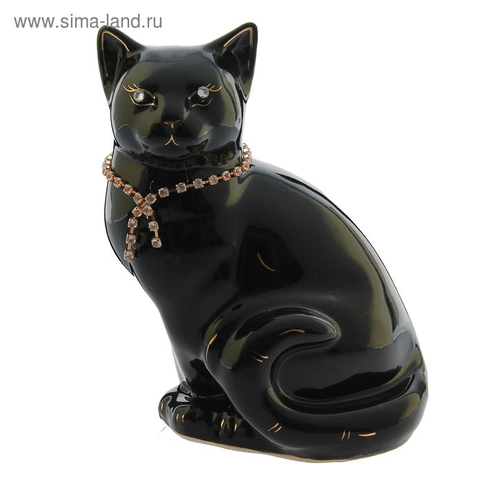 """Копилка """"Кошка Мурка"""" цепочка, глянец, чёрная"""