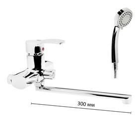 Смеситель для ванны Accoona A7103, однорычажный, излив 300 мм, с душевым набором, хром