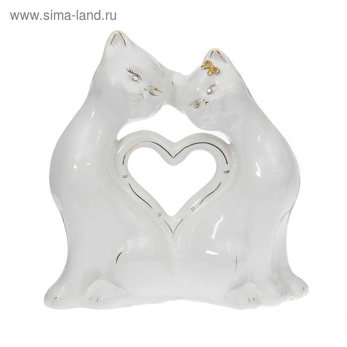 """Копилка """"Кошки"""" в форме сердца, малая, глазурь, белая"""