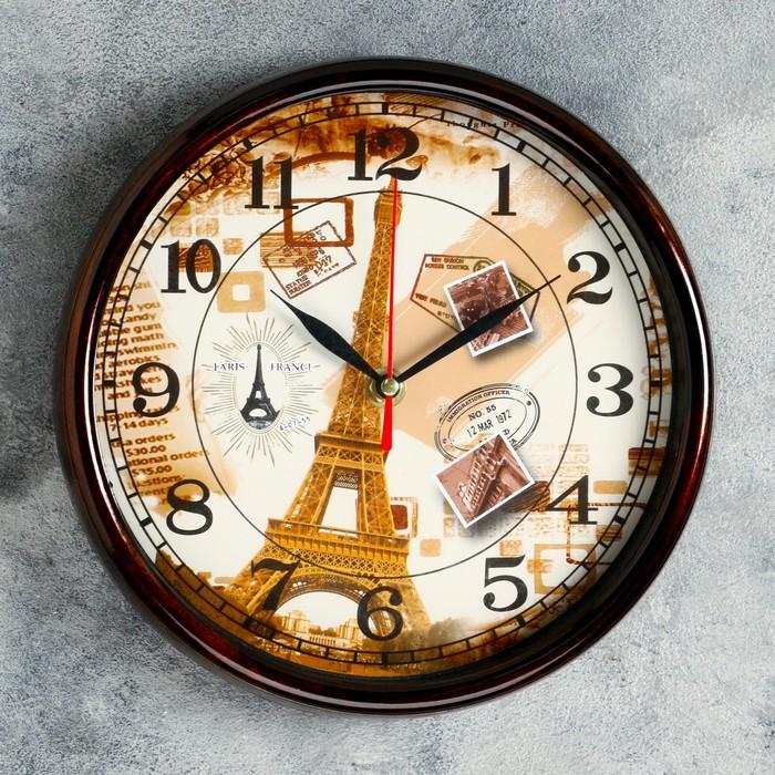 """Часы настенные, серия: Город, """"Воспоминания о Париже"""" 22х22х3,8 см"""
