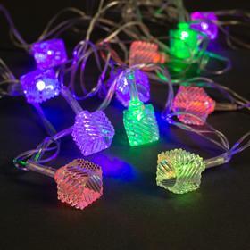 """Гирлянда """"Нить"""" 5 м с насадками """"Кубики тающие"""", IP20, прозрачная нить, 20 LED, свечение мульти, мигание, 220 В"""