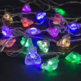"""Гирлянда """"Нить"""" 5 м с насадками """"Подарки"""", IP20, прозрачная нить, 20 LED, свечение мульти, мигание, 220 В"""