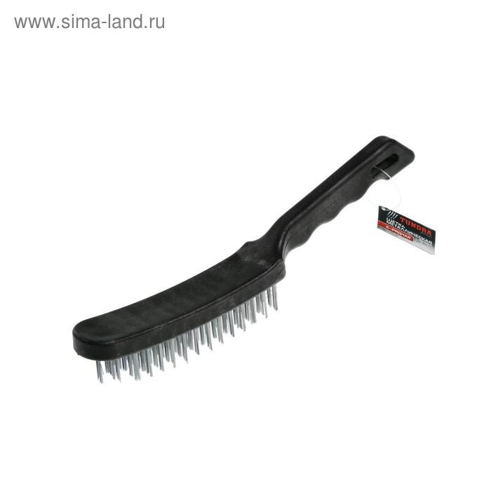 Щетка металлическая TUNDRA, ручная пластиковая рукоятка 5-рядная