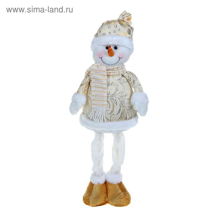 """Мягкая игрушка """"Снеговик на ножках"""" (золотая узорная шубка)"""