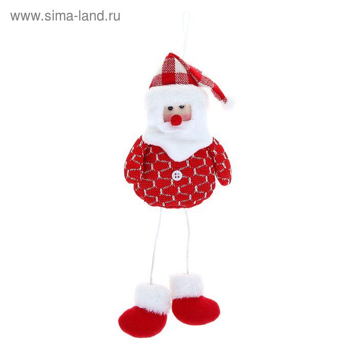 """Мягкая игрушка """"Дед Мороз"""" красная клеточка и пуговка"""