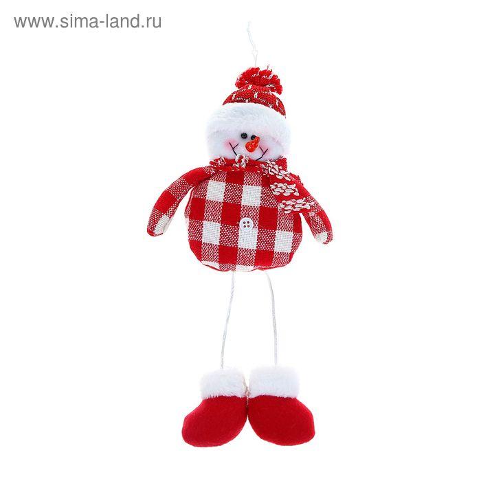 """Мягкая игрушка """"Снеговик"""" красная клеточка и пуговка"""