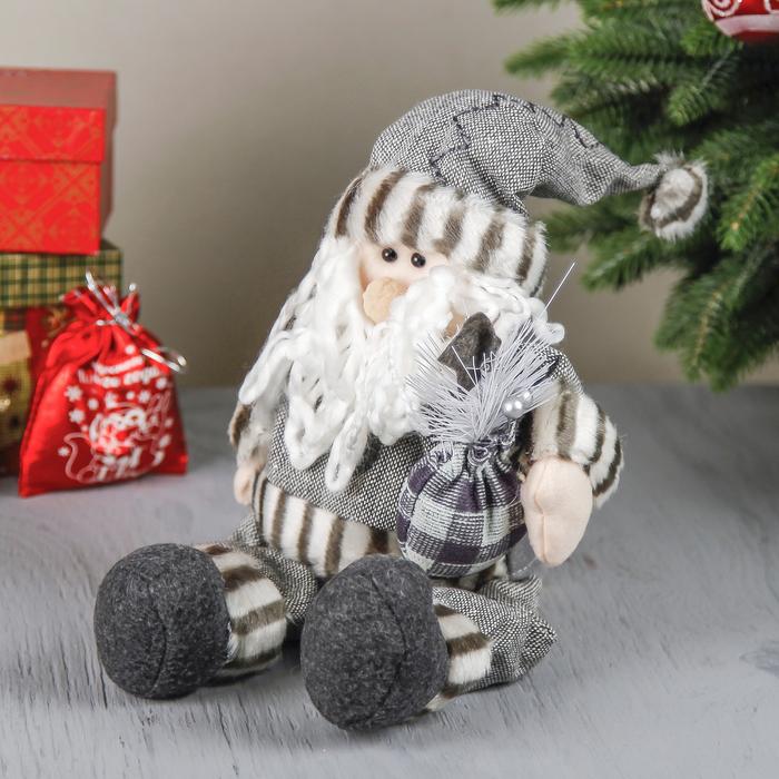 """Мягкая игрушка """"Дед Мороз в шубке с подарком"""" сидит 46 см серый"""