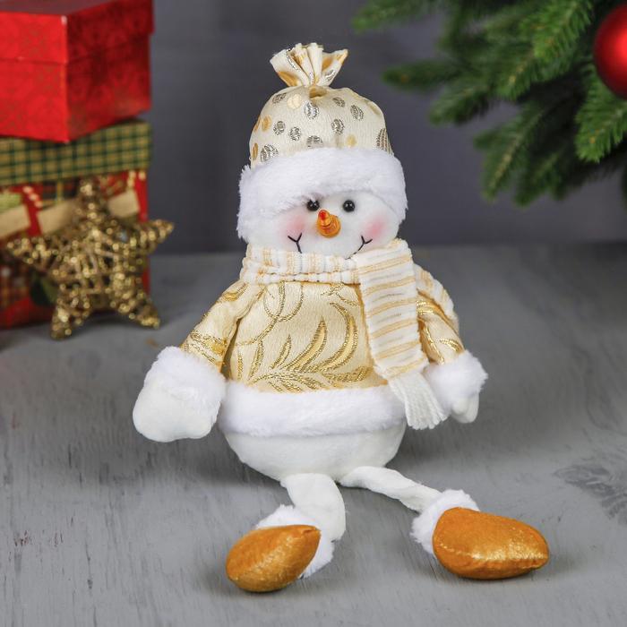 """Мягкая игрушка """"Снеговик"""" (золотая узорная шубка)"""