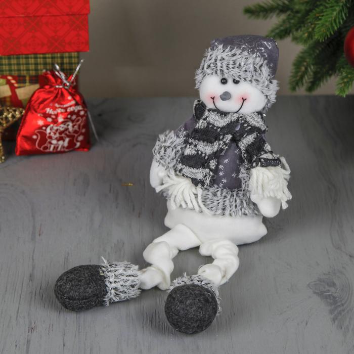 """Мягкая игрушка """"Снеговик - длинные ножки"""" сидит 40 см серый"""