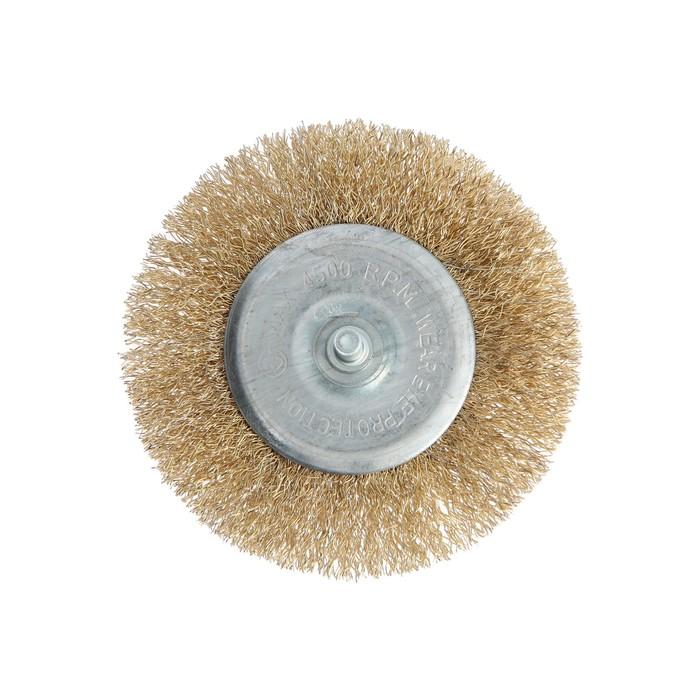 Щетка металлическая для дрели TUNDRA basic, со шпилькой, плоская, 100 мм