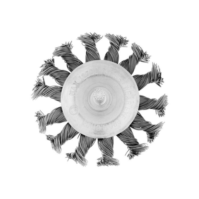 """Щетка металлическая TUNDRA, для дрели со шпилькой крученая """"плоская"""" 75 мм"""