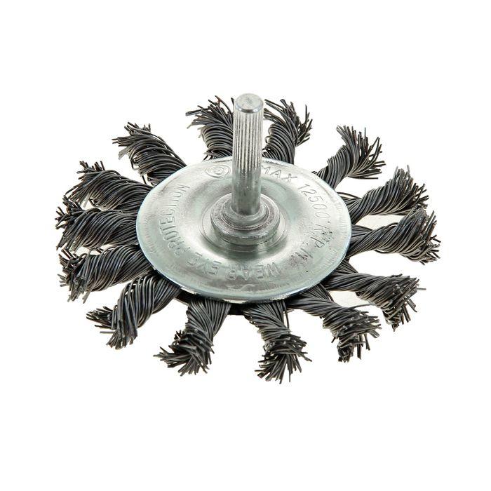 Щетка металлическая для дрели TUNDRA basic, со шпилькой, крученая проволока, плоская, 65 мм