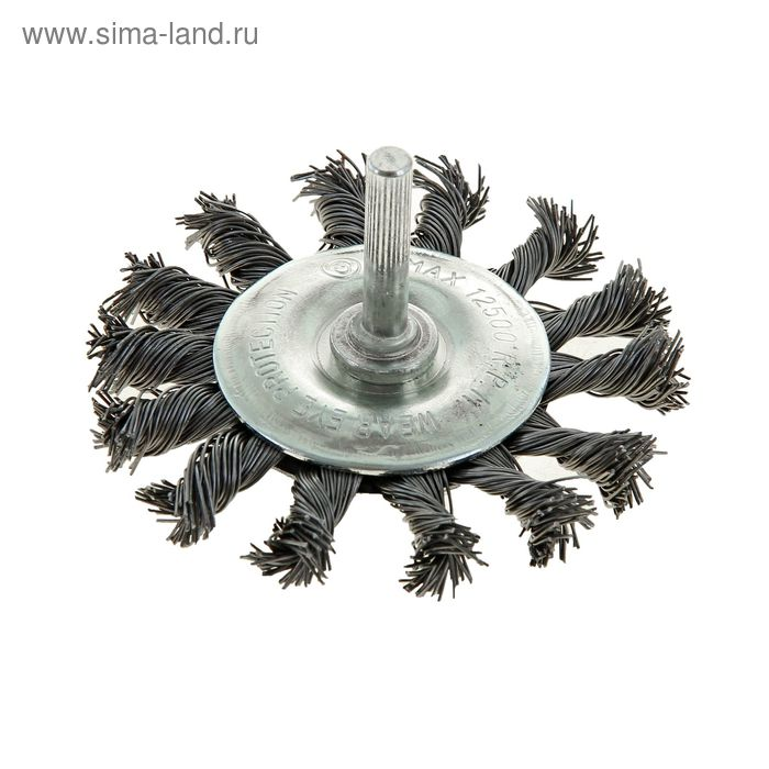 """Щетка металлическая TUNDRA, для дрели со шпилькой крученая """"плоская"""" 65 мм"""