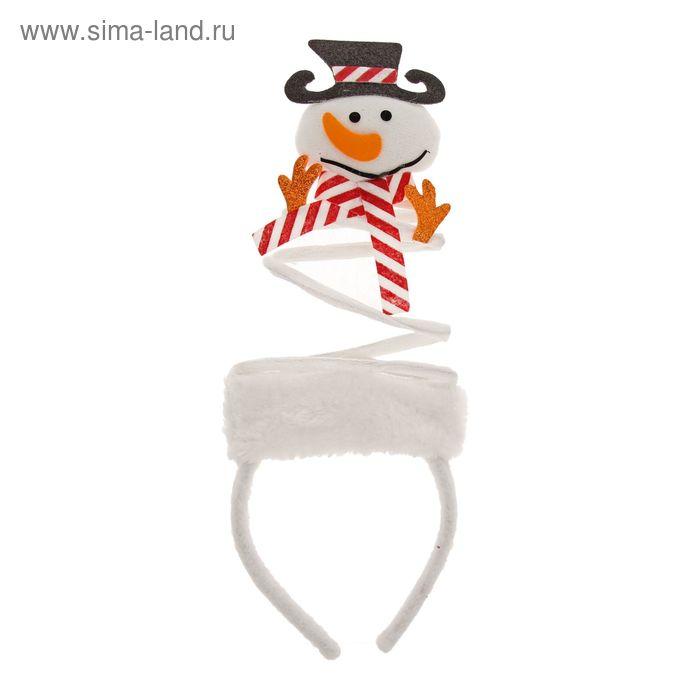 """Ободок карнавальный """"Снеговичок"""", в шляпе"""
