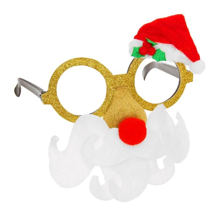 """Карнавальные очки """"Дед Мороз"""", красный нос"""
