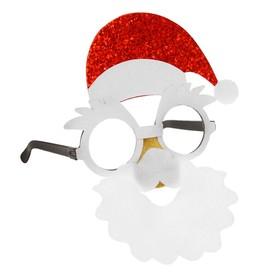 """Карнавальные очки """"Дедушка Мороз"""", красный колпак"""